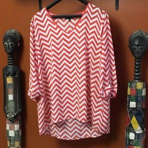 Orange & White Striped Tunic Top by Kiara. So. XXL